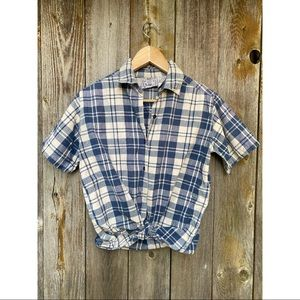VINTAGE SUNSET BLUES plaid button tee blouse small